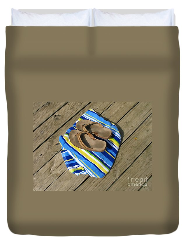 Towel Duvet Cover featuring the photograph Go Jump In The Lake by Ann Horn