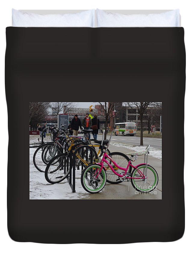 Pink Schwinn Bicycle Duvet Cover featuring the photograph Go Pink by Kitrina Arbuckle