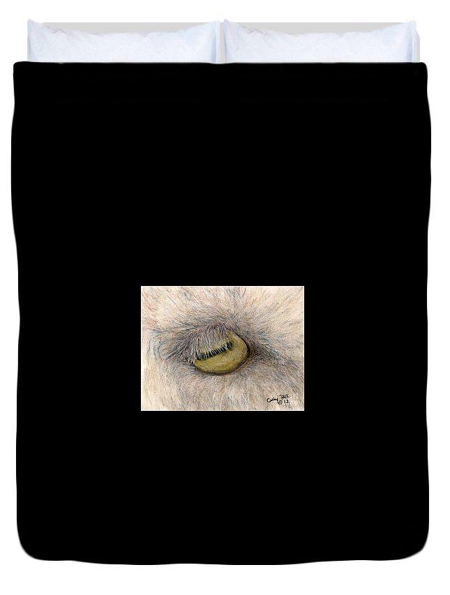 Goat Duvet Cover featuring the painting Goat Eye Farm Ranch Animal Art Cathy Peek by Cathy Peek