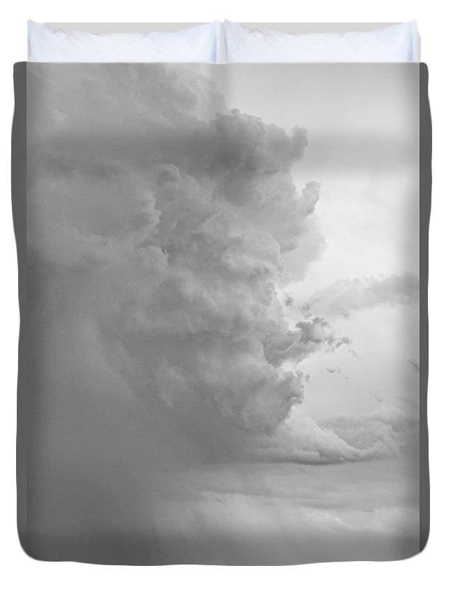 Storms Duvet Cover featuring the photograph Gobbled Up By A Storm Bw by James BO Insogna