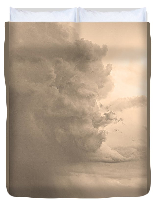 Storms Duvet Cover featuring the photograph Gobbled Up By A Storm Sepia by James BO Insogna
