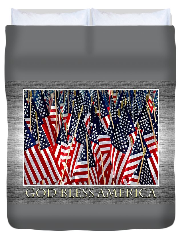 Flag Duvet Cover featuring the photograph God Bless America by Carolyn Marshall