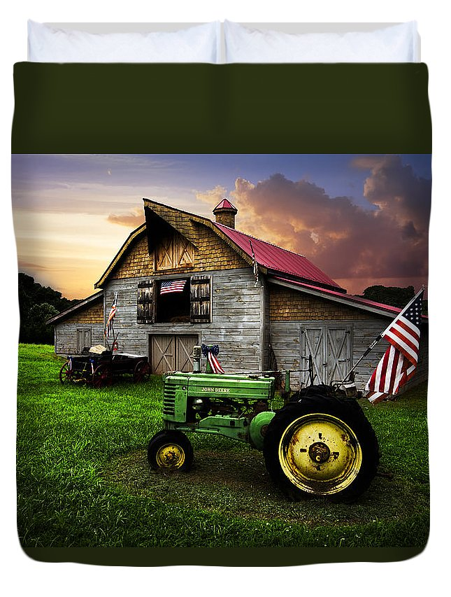American Duvet Cover featuring the photograph God Bless America by Debra and Dave Vanderlaan