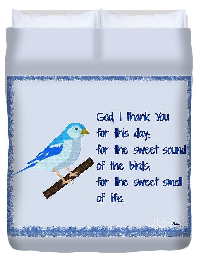 God I Thank You For This Day Duvet Cover featuring the painting God I Thank You for This Day by Pharris Art