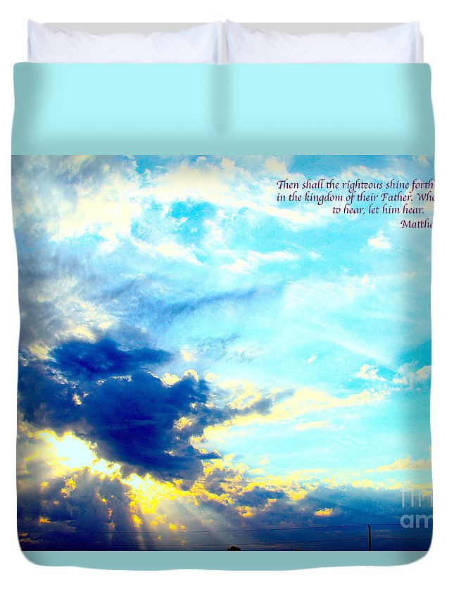 God Shines Thur The Clouds Duvet Cover featuring the digital art God Shine #2 by L L L