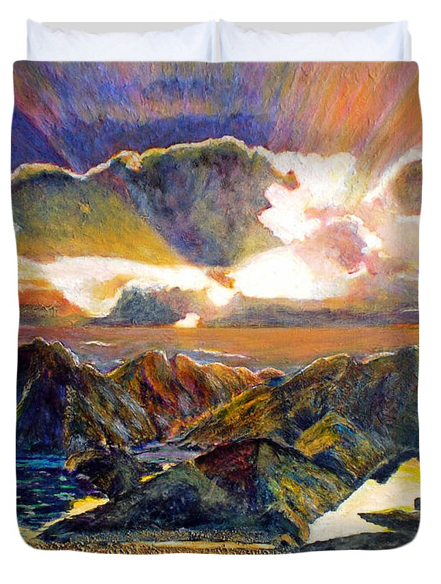 Seascape Duvet Cover featuring the painting God Speaking by Michael Durst