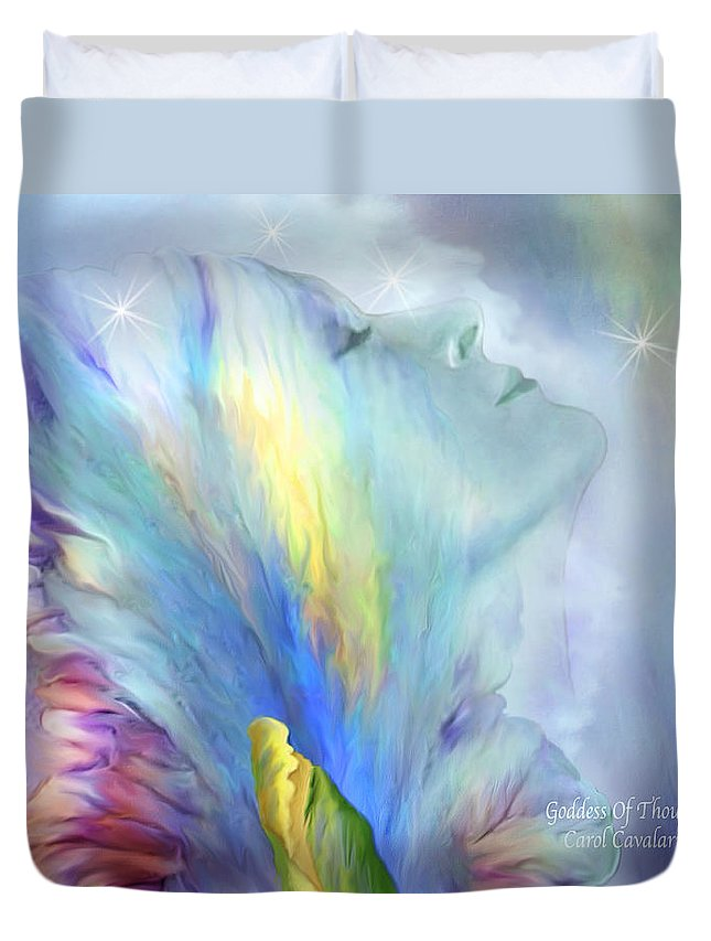 Goddess Duvet Cover featuring the mixed media Goddess Of Thought by Carol Cavalaris