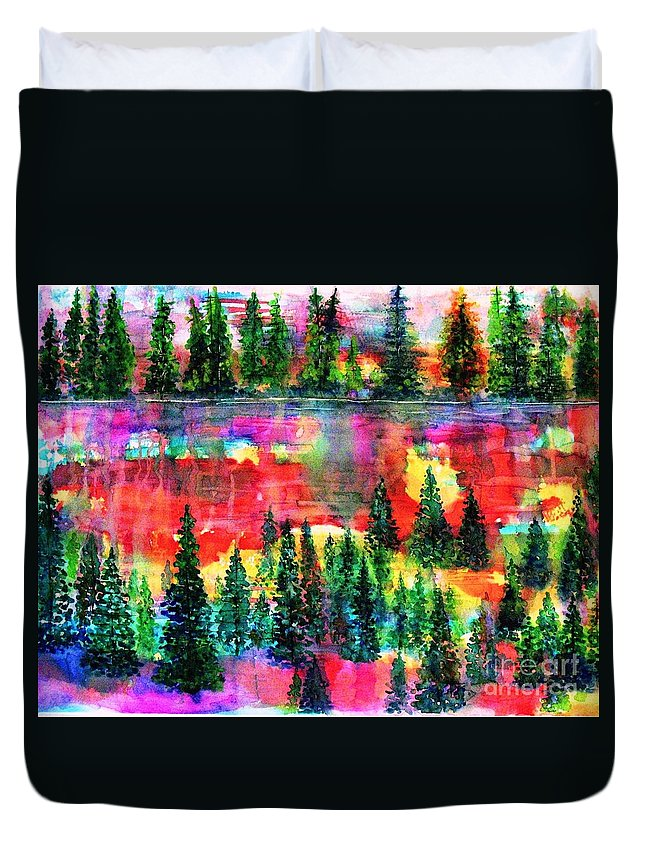 Trees Duvet Cover featuring the painting God's Kaleidoscope by Hazel Holland