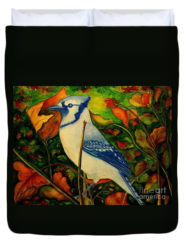 Blue Jay Duvet Cover featuring the photograph God's New Creation by Hazel Holland