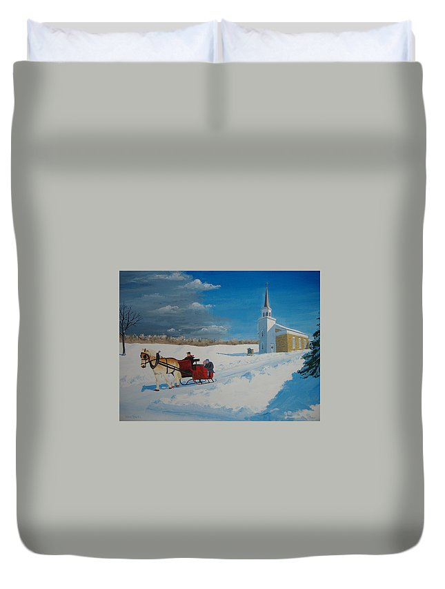 Winter Duvet Cover featuring the painting Going Home From Church by Norm Starks