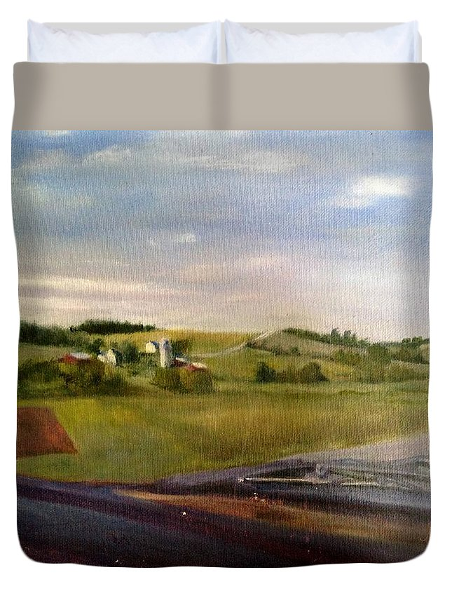 Car Duvet Cover featuring the painting Going Home by Sheila Mashaw