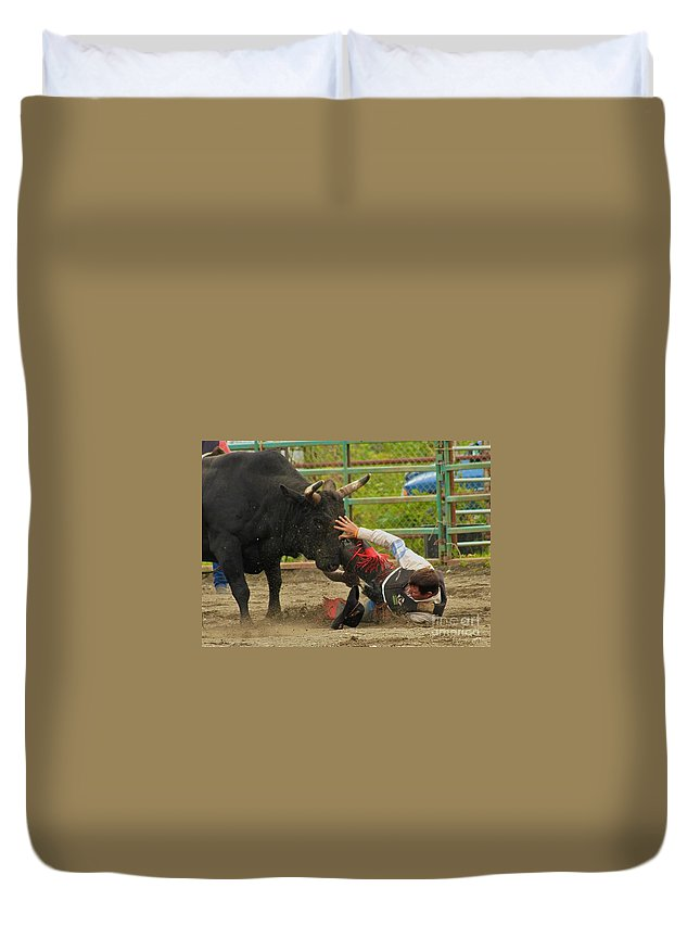 Rodeo Duvet Cover featuring the photograph Going To Hurt by Rick Monyahan