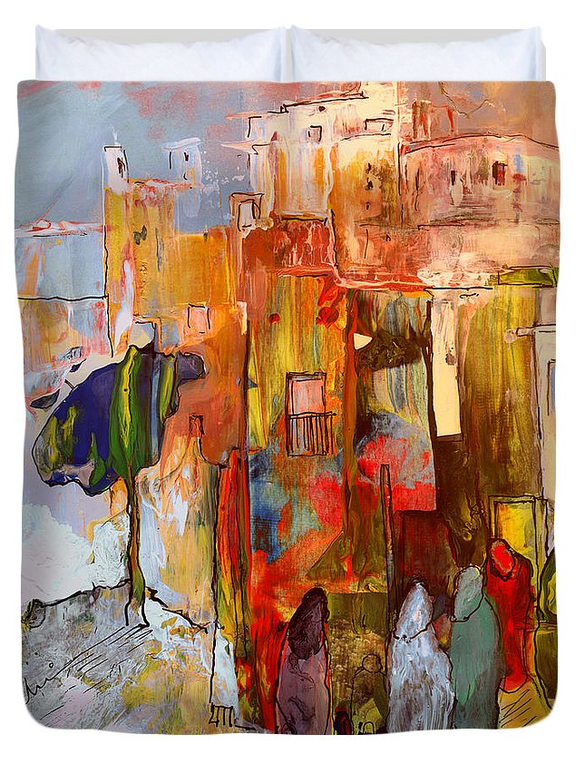 Travel Duvet Cover featuring the painting Going To The Medina In Morocco by Miki De Goodaboom