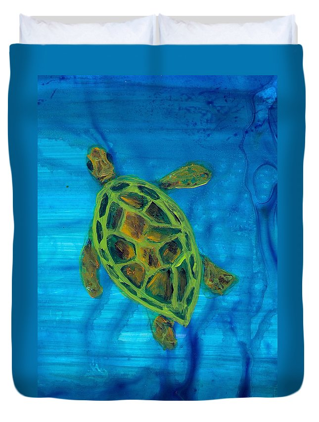 Turtle Duvet Cover featuring the painting Going Up For Air by Wanda Pepin