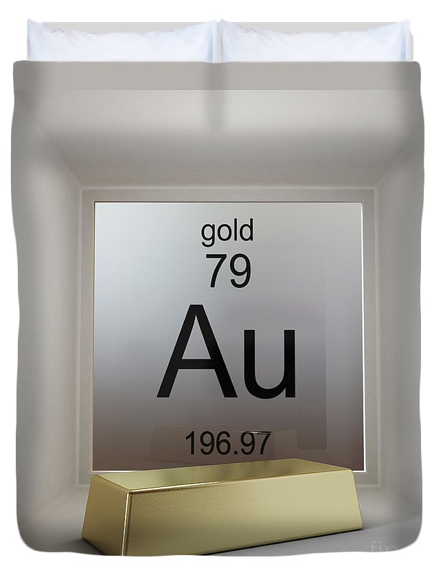 White Background Duvet Cover featuring the photograph Gold Chemical Element by Science Picture Co