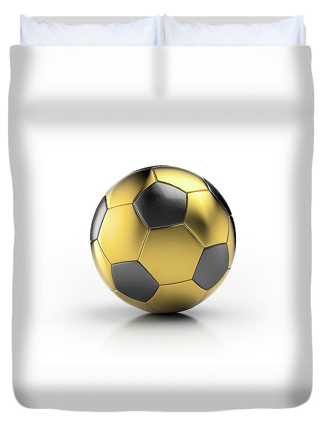 White Background Duvet Cover featuring the photograph Gold Football by Atomic Imagery