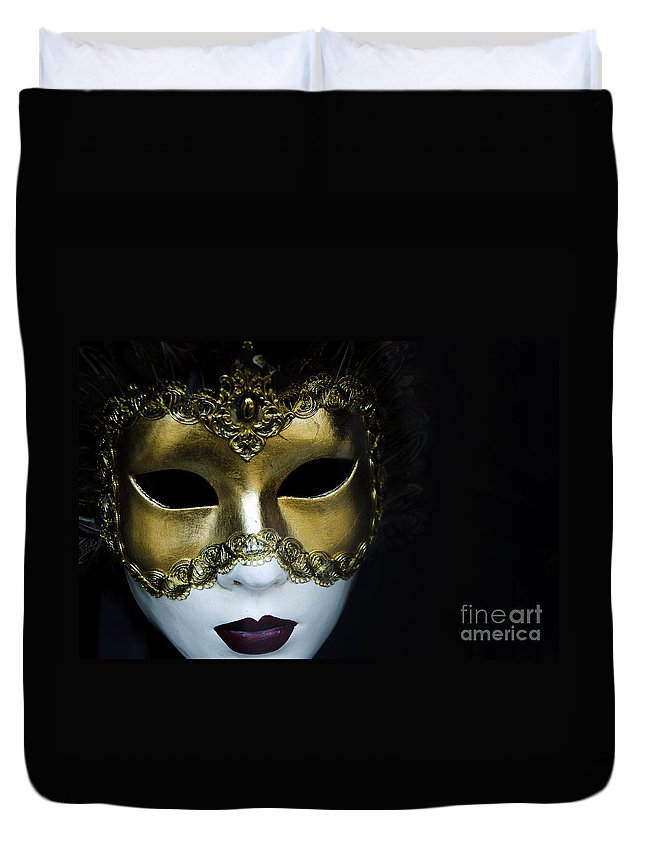 Black Duvet Cover featuring the photograph Gold Mask by Oscar Gutierrez