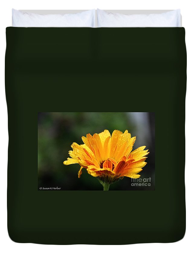 Flower Duvet Cover featuring the photograph Gold Petals by Susan Herber