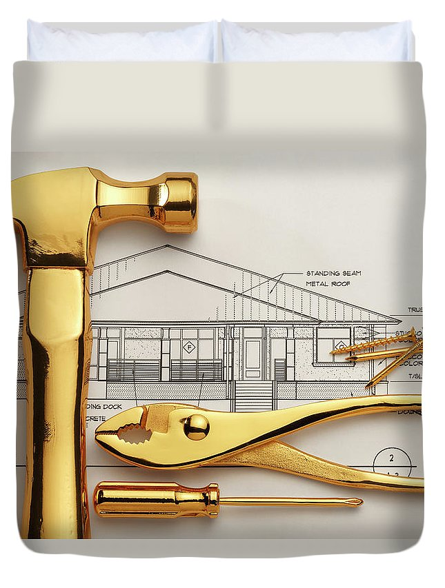 Plan Duvet Cover featuring the photograph Gold Plated Tools And Blueprints by Dny59