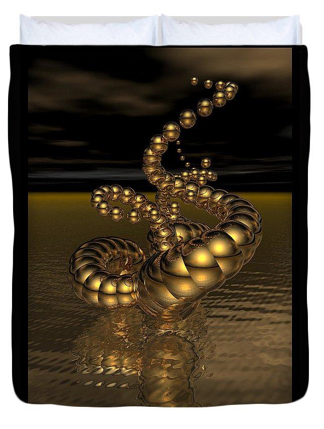 Dark Duvet Cover featuring the digital art Gold Serpentine by Ann Stretton