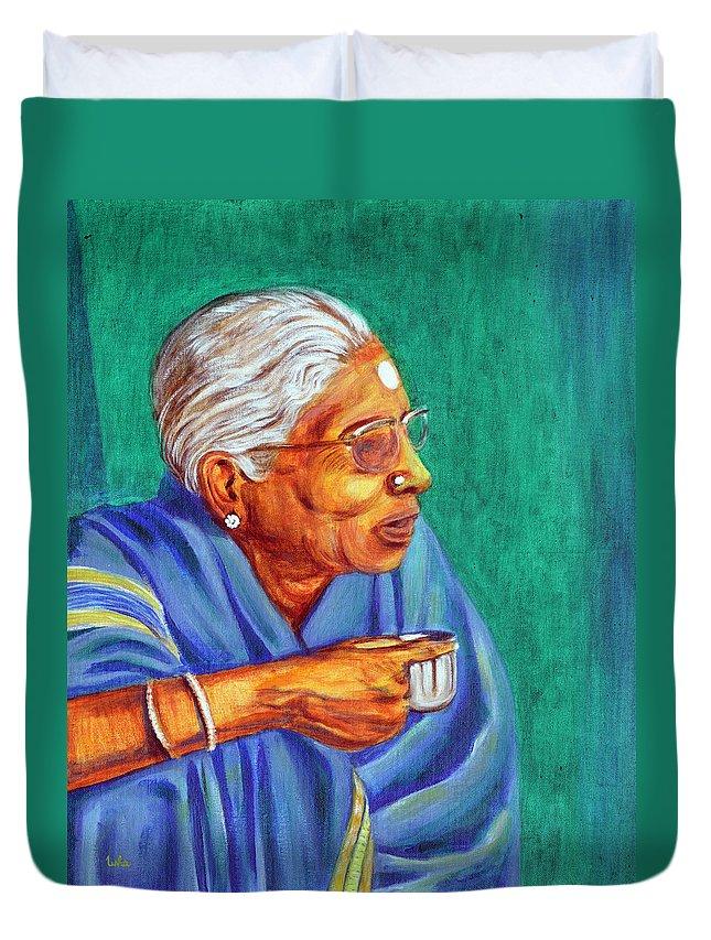 Usha Duvet Cover featuring the painting Golden Age 2 by Usha Shantharam