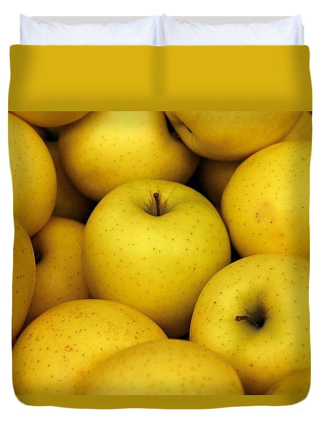 Joseph Skompski Duvet Cover featuring the photograph Golden Apples by Joseph Skompski