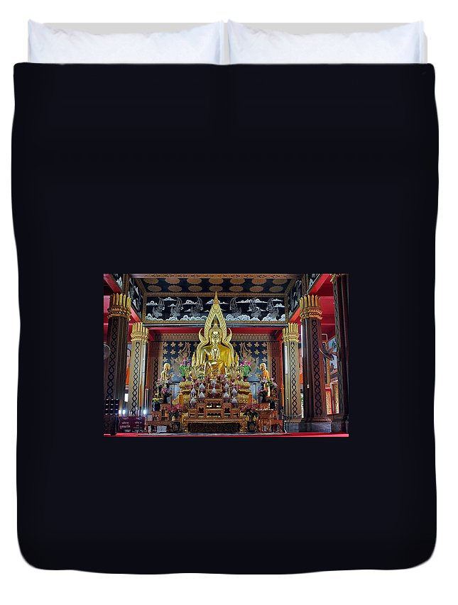 3scape Duvet Cover featuring the photograph Golden Buddha by Adam Romanowicz