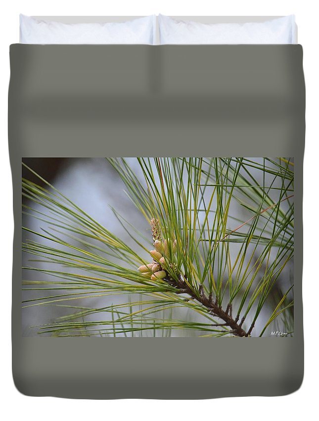 Golden Catkins Of The Great Pine Duvet Cover featuring the photograph Golden Catkins Of The Great Pine by Maria Urso