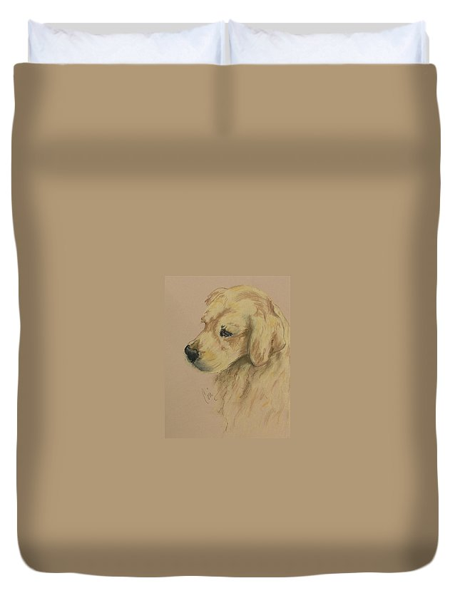 Golden Retriever Duvet Cover featuring the drawing Golden Delights by Cori Solomon