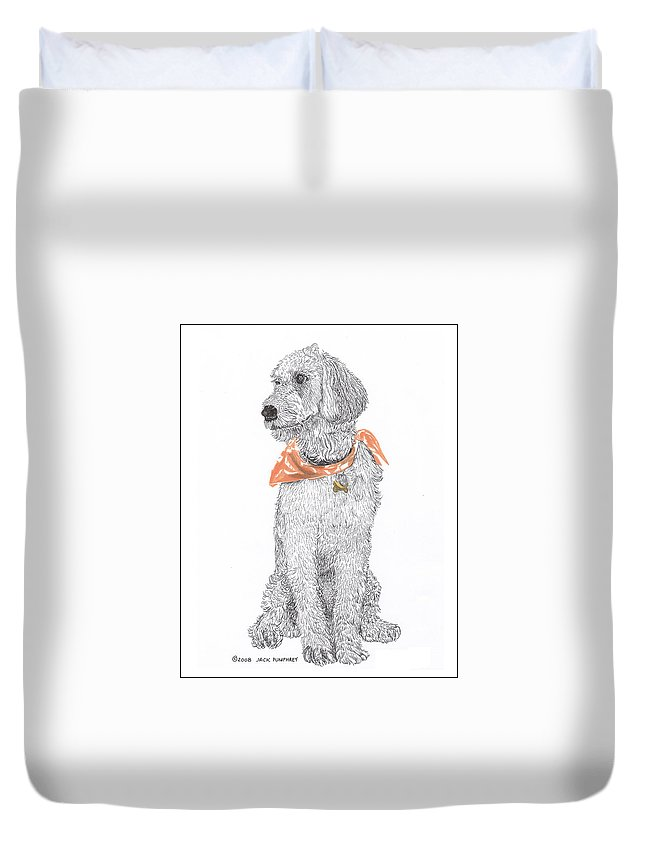 Poodle Doodle Doggy Duvet Cover featuring the drawing Trash Talking Golden Doodle by Jack Pumphrey