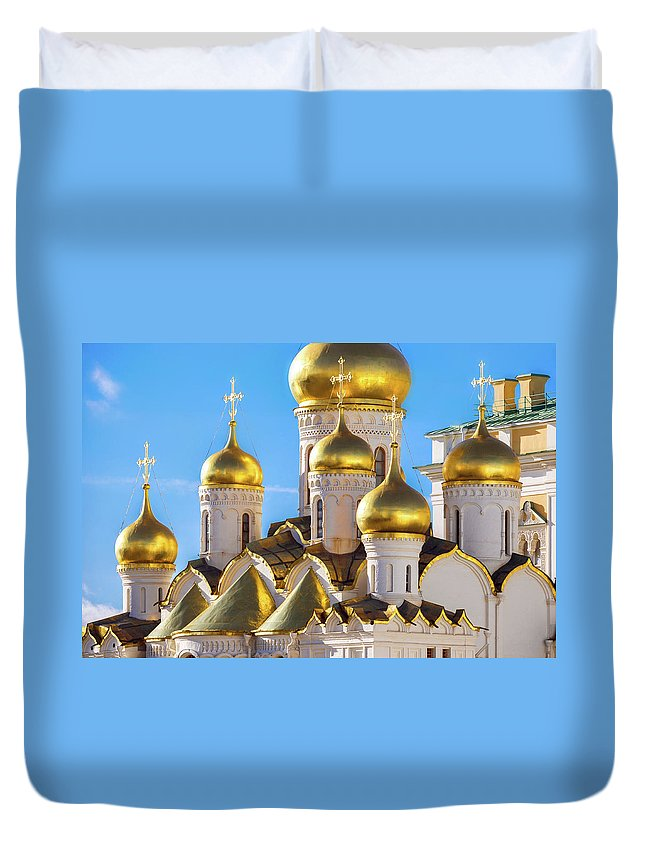 Annunciation Duvet Cover featuring the photograph Golden Domes Of The Russian Church by Mordolff