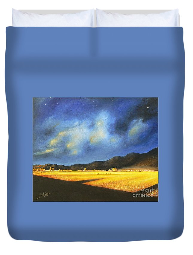 American Duvet Cover featuring the painting Golden Fields by Artist ForYou