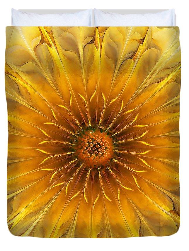 Abstract Duvet Cover featuring the digital art Golden Flower by Klara Acel