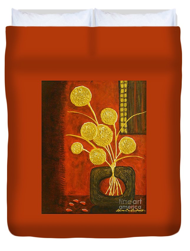 Modern Duvet Cover featuring the painting Golden Flowers by Elena Constantinescu