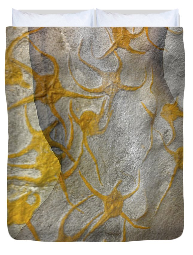 Golden Fossil Duvet Cover featuring the photograph Golden Fossil Female Form by Deprise Brescia