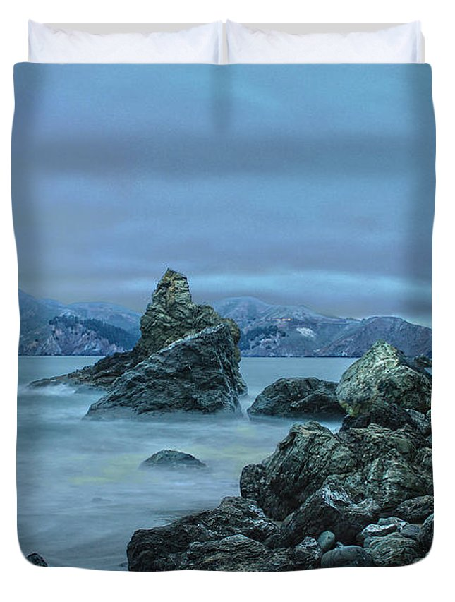 San Fransisco Duvet Cover featuring the photograph Golden Gate Bridge by Amanda Lackides