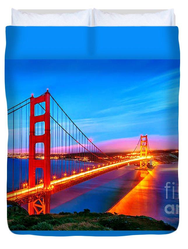 Golden Gate Bridge Duvet Cover featuring the photograph Follow The Golden Trail by Az Jackson