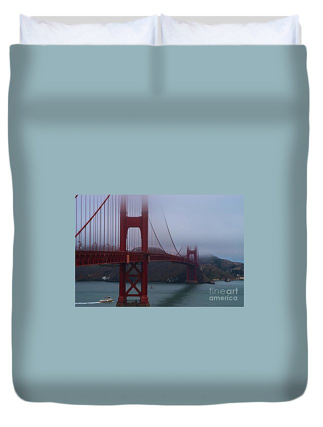 Golden Gate Bridge San Francisco Bay California Bays Water Suspension Bridges Landmark Landmarks Boat Boats Fog Foggy Landscape Landscapes Waterscape Waterscapes Duvet Cover featuring the photograph Golden Gate Bridge by Bob Phillips