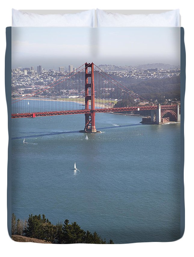 American Duvet Cover featuring the photograph Golden Gate Bridge by Jenna Szerlag