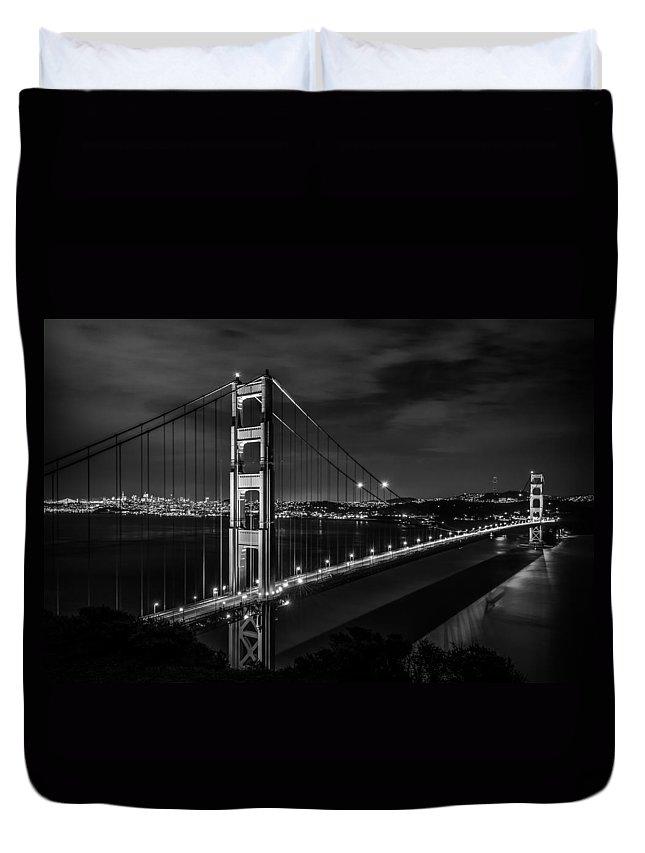 Golden Gate Duvet Cover featuring the photograph Golden Gate Evening- Mono by Linda Villers