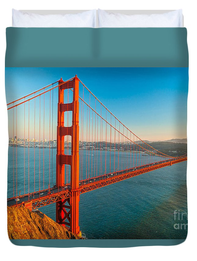 Francisco Duvet Cover featuring the photograph Golden Gate - San Francisco by Luciano Mortula
