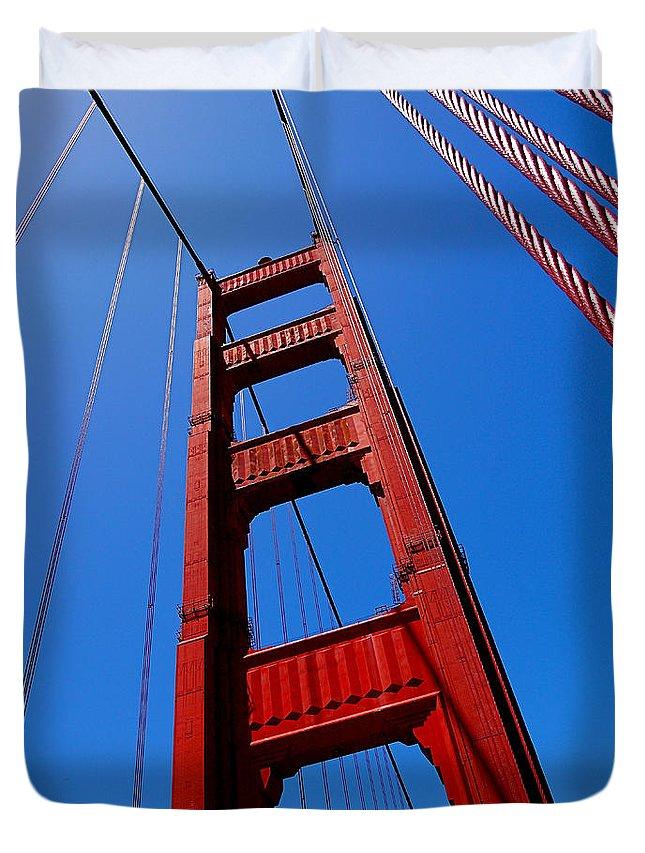 Golden Gate Bridge Duvet Cover featuring the photograph Golden Gate Tower by Rona Black