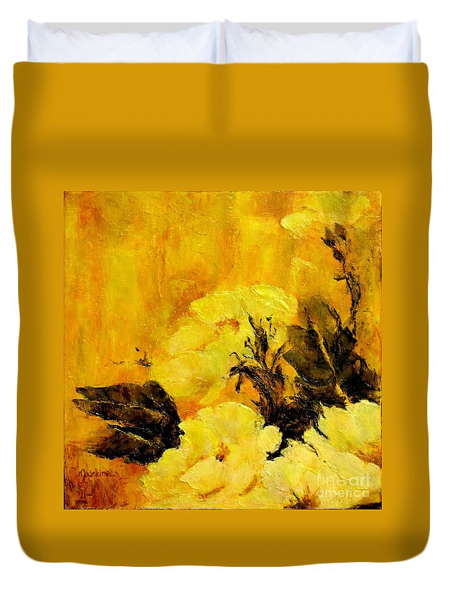 Poppies Duvet Cover featuring the painting Golden Glow by Madeleine Holzberg