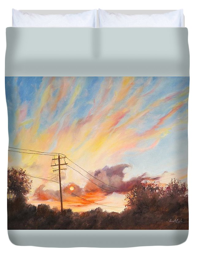 Sunset Duvet Cover featuring the painting Golden Hour by Jean Costa