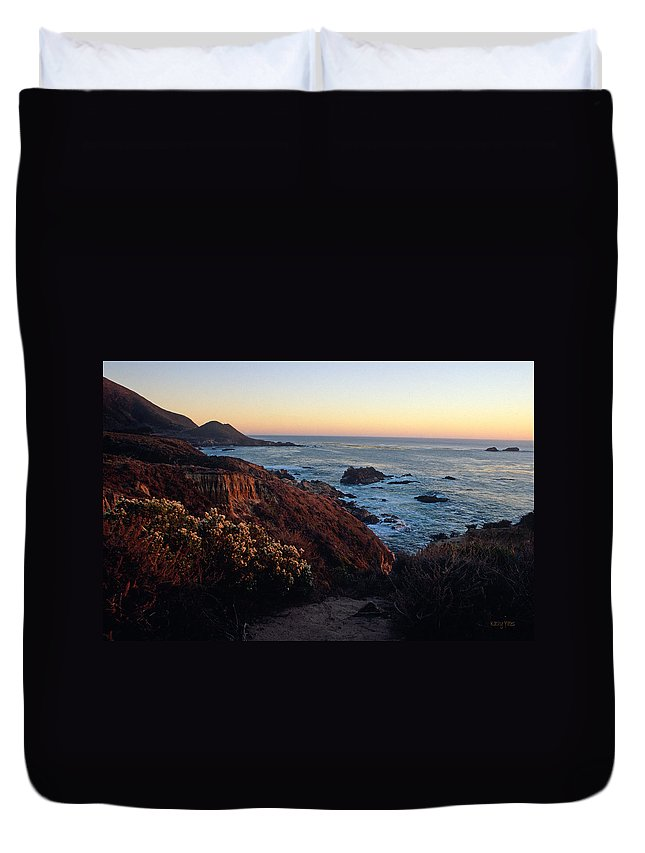 Big Sur Duvet Cover featuring the photograph Golden Hour On Garrapata by Kathy Yates