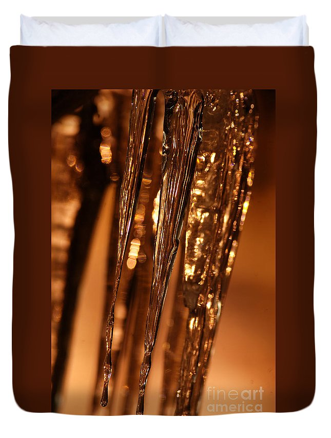 Ice Duvet Cover featuring the photograph Golden Ice by Optical Playground By MP Ray
