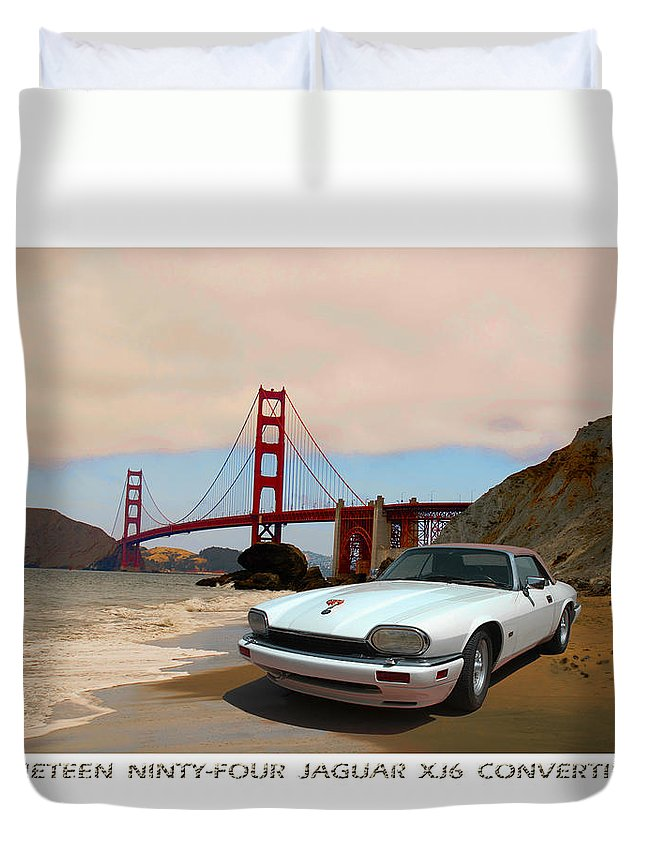 Photography By Jack Pumphrey Of 1994 Glacial White Jaguar Convertible With Beautiful Light Tan Leather Interior And Matching Power Convertible Top Duvet Cover featuring the photograph Golden Jaguar by Jack Pumphrey