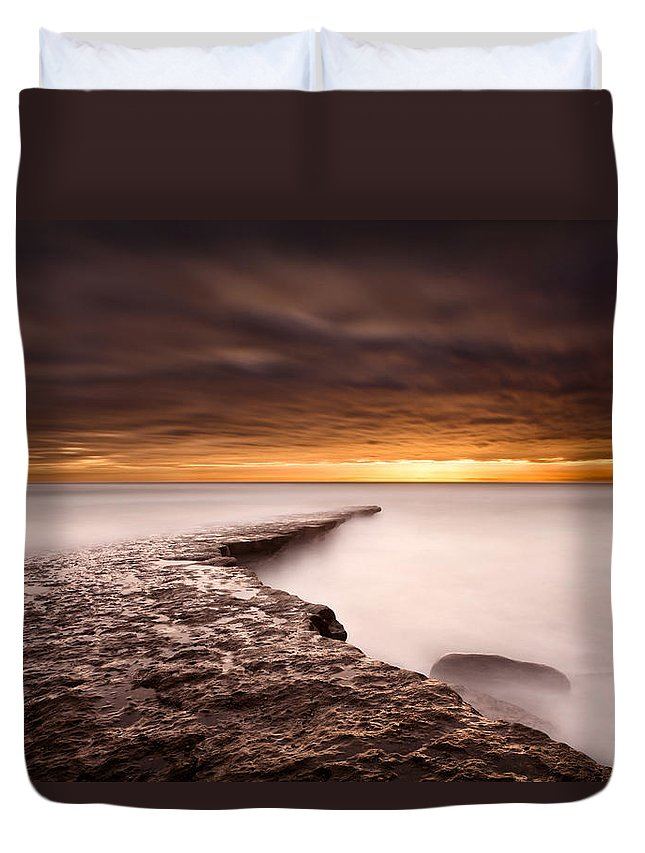 Beach Duvet Cover featuring the photograph Golden by Jorge Maia