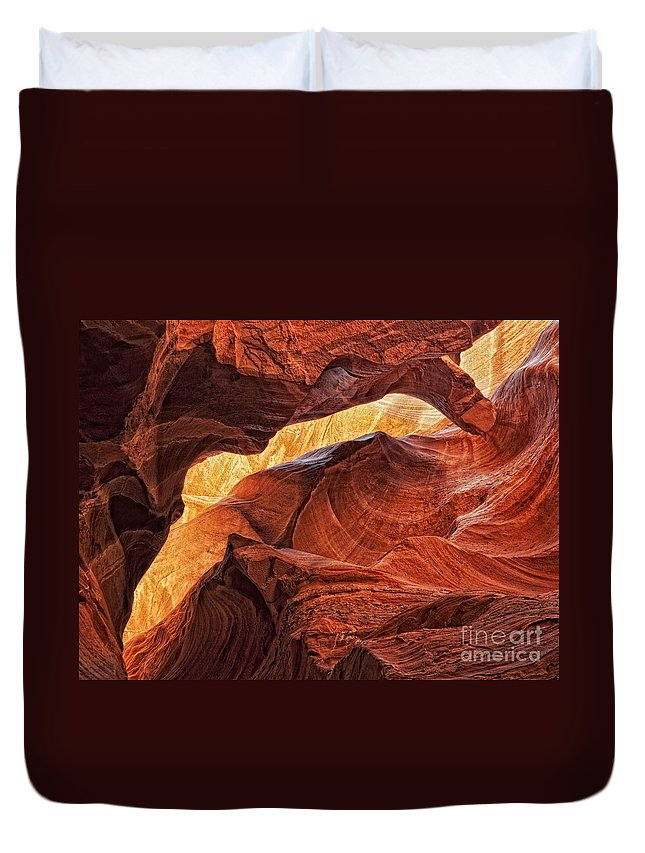 Slot Canyon Duvet Cover featuring the photograph Golden Light by Claudia Kuhn