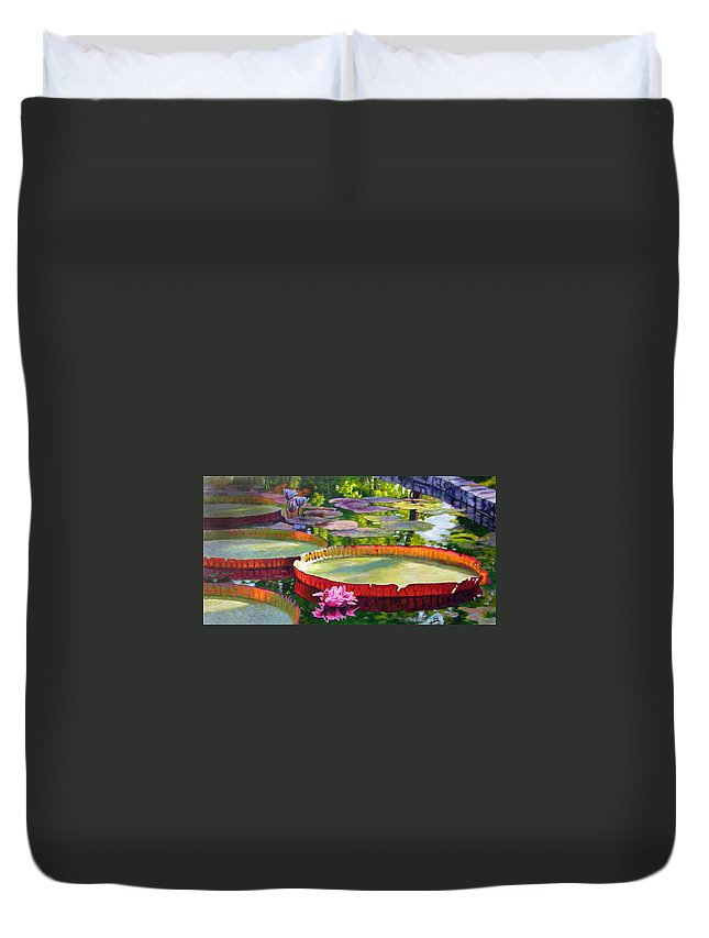Garden Pond Duvet Cover featuring the painting Golden Light on Lilies by John Lautermilch